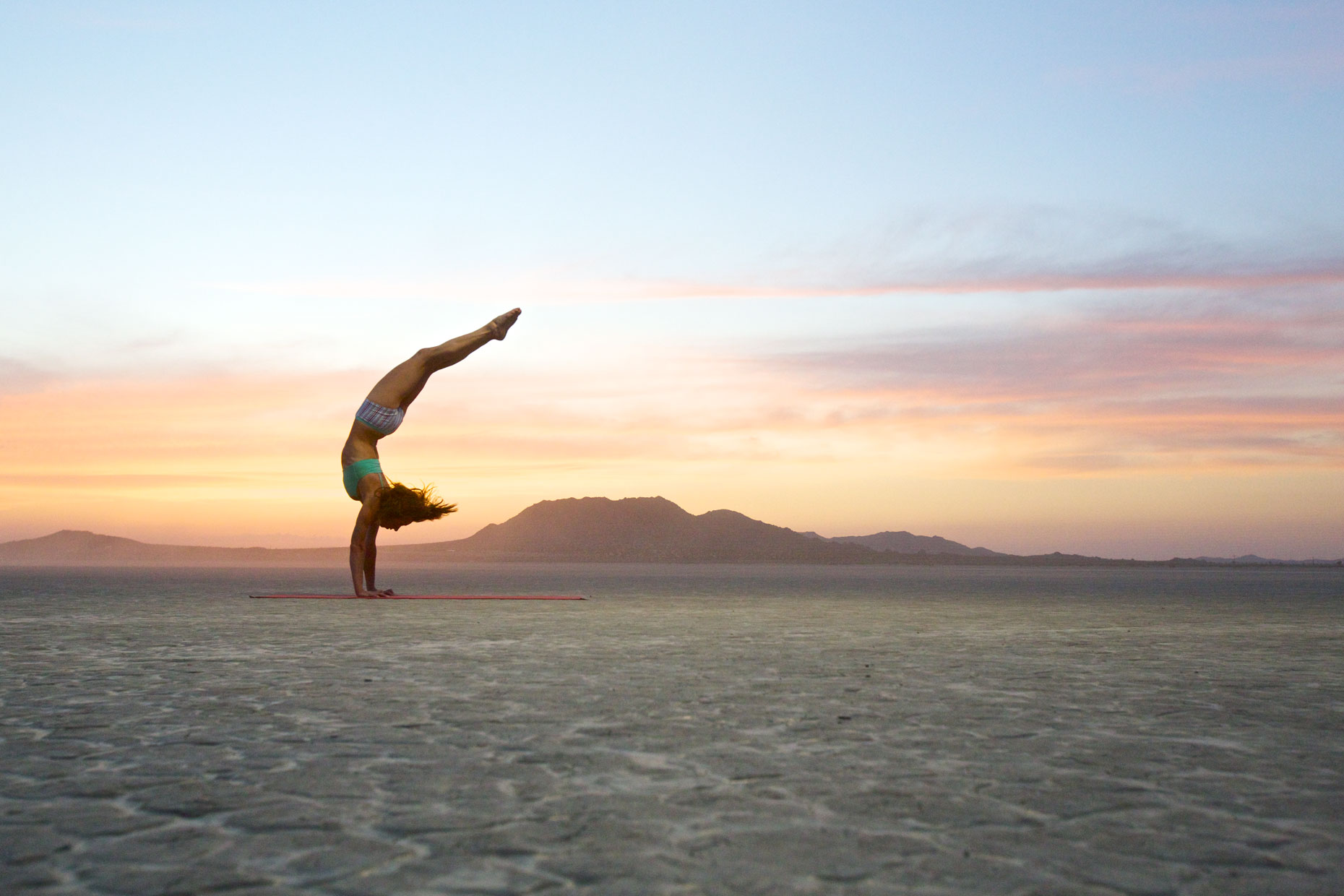 Handstand in the desert at Sunset/Steve Mason Photography