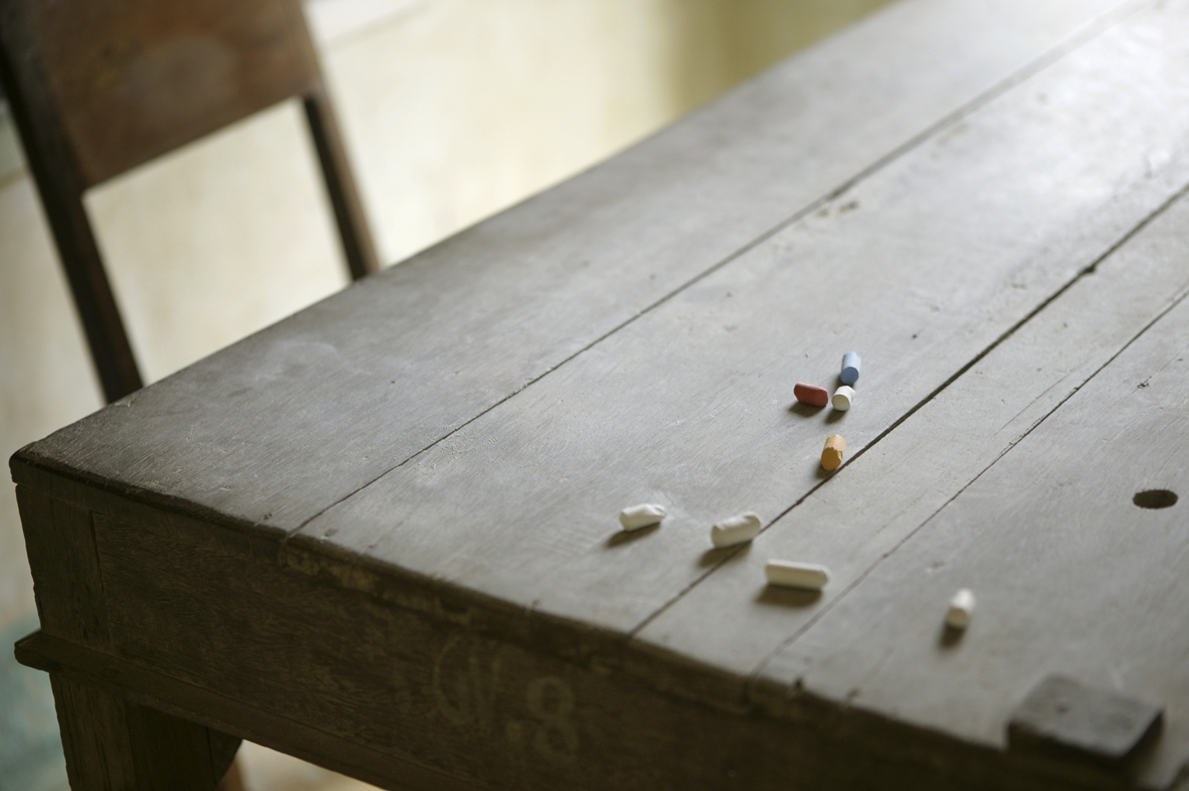 Detail of chalk on table, Viet Nam/Steve Mason Photography