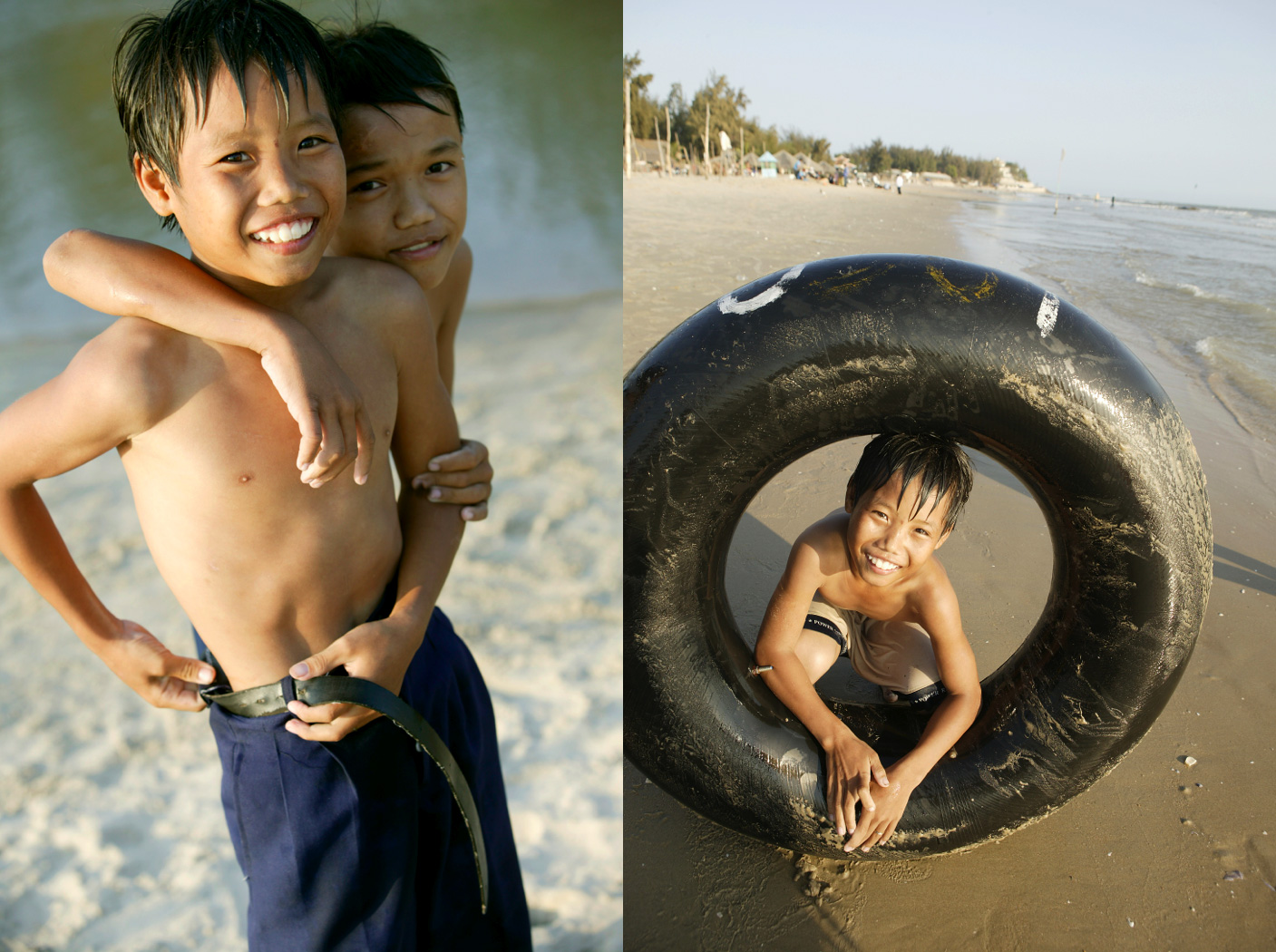 Young Vietnaese boys enjoy  beach/Steve Mason Photography