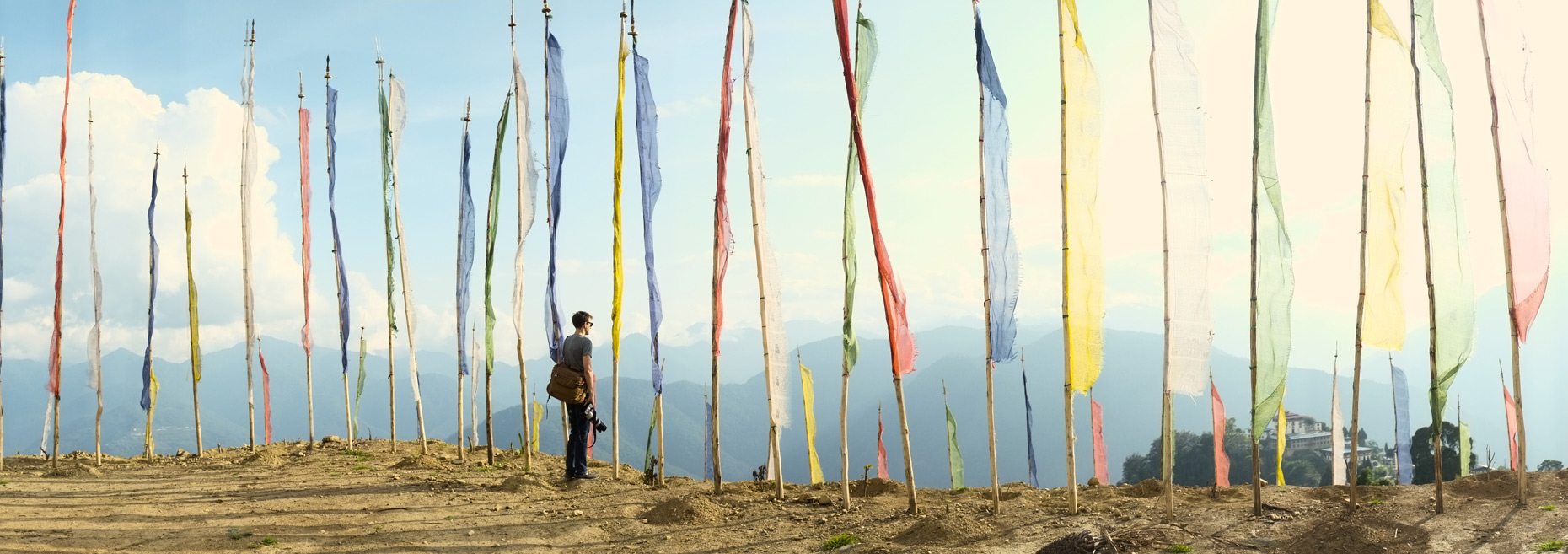 Cerimonial flags on ridge in Bhutan/Steve Mason Photography
